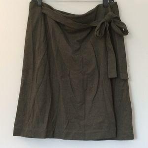 Loft olive green wrap skirt